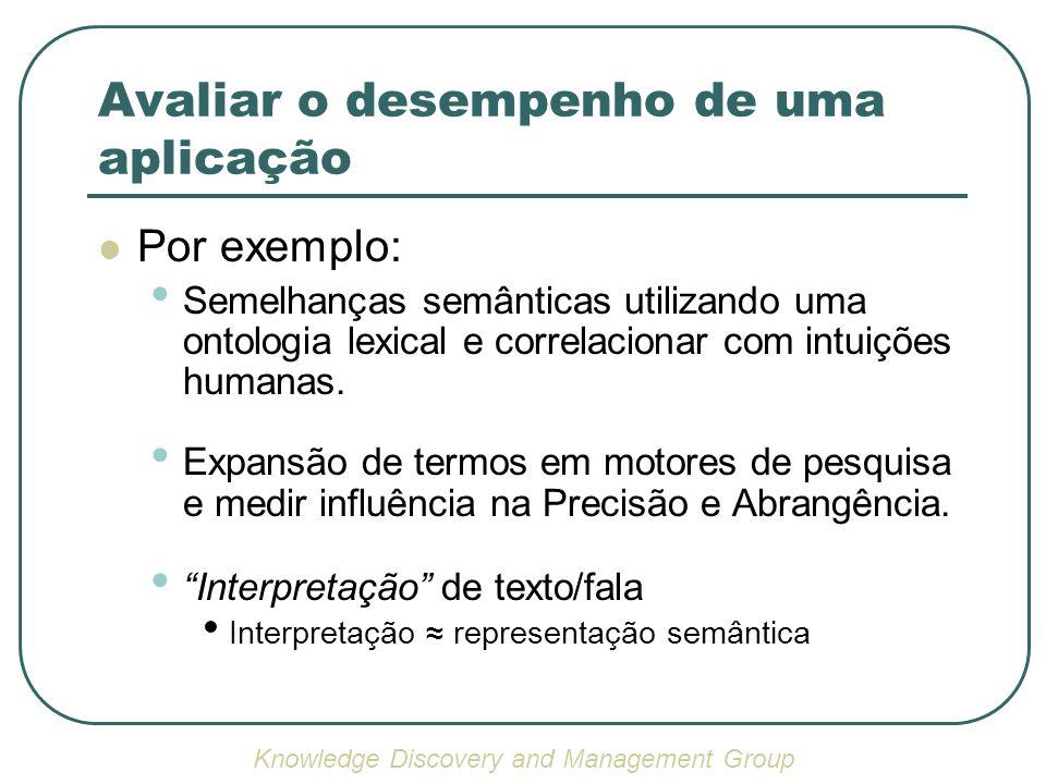 Avaliar o desempenho de uma aplicação Por exemplo: Semelhanças semânticas utilizando uma ontologia lexical e correlacionar com intuições humanas.