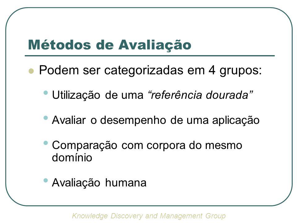 Métodos de Avaliação Podem ser categorizadas em 4 grupos: Utilização de uma referência dourada Avaliar o desempenho de uma aplicação Comparação com corpora do mesmo domínio Avaliação humana Knowledge Discovery and Management Group