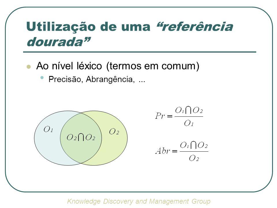 Utilização de uma referência dourada Ao nível léxico (termos em comum) Precisão, Abrangência,...