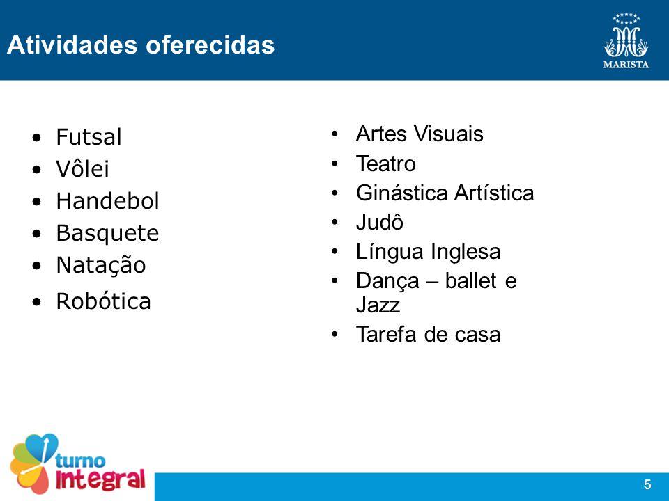 5 Futsal Vôlei Handebol Basquete Natação Robótica Atividades oferecidas Artes Visuais Teatro Ginástica Artística Judô Língua Inglesa Dança – ballet e