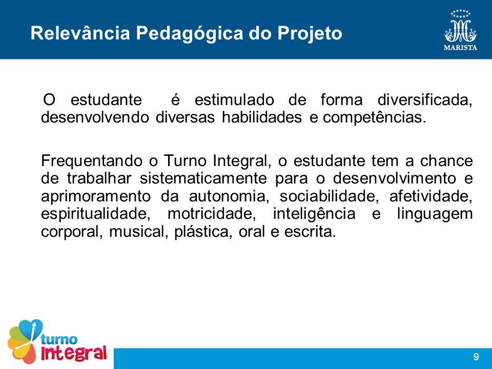 9 Relevância Pedagógica do Projeto O estudante é estimulado de forma diversificada, desenvolvendo diversas habilidades e competências. Frequentando o