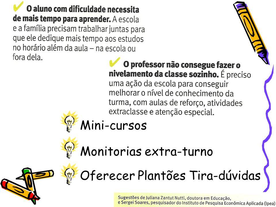 Oferecer Plantões Tira-dúvidas Mini-cursos Monitorias extra-turno