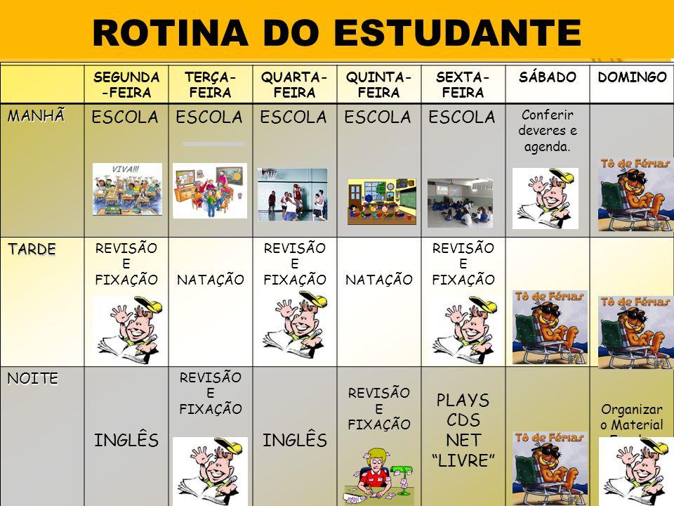 ROTINA DO ESTUDANTE SEGUNDA -FEIRA TERÇA- FEIRA QUARTA- FEIRA QUINTA- FEIRA SEXTA- FEIRA SÁBADODOMINGOMANHÃ ESCOLA Conferir deveres e agenda.
