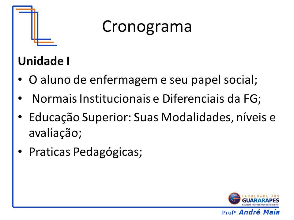 Profº André Maia Cronograma Unidade I O aluno de enfermagem e seu papel social; Normais Institucionais e Diferenciais da FG; Educação Superior: Suas Modalidades, níveis e avaliação; Praticas Pedagógicas;