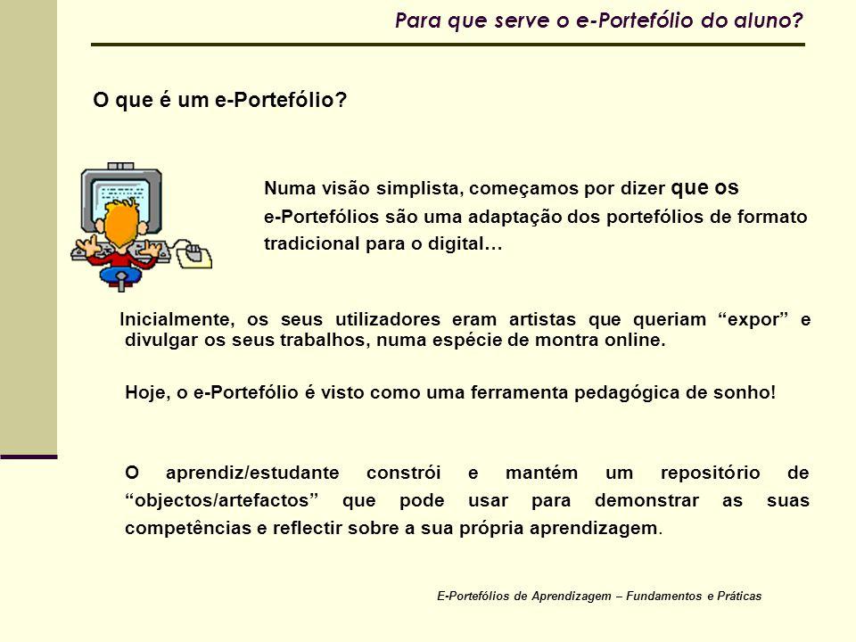 E-Portefólios de Aprendizagem – Fundamentos e Práticas Para que serve o e-Portefólio do aluno? O que é um e-Portefólio? Numa visão simplista, começamo