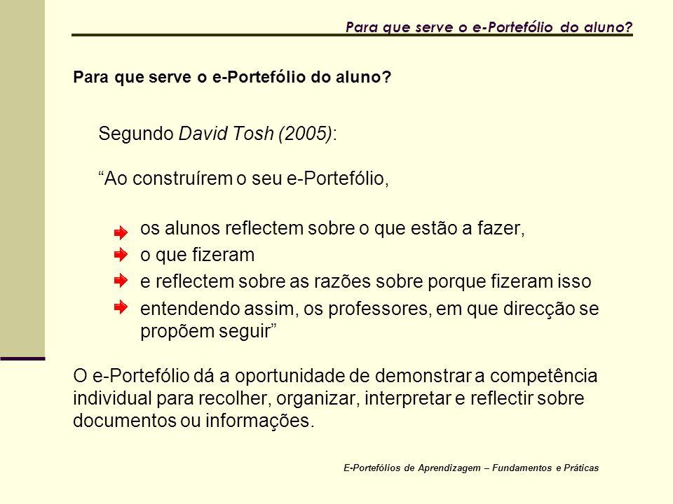 """E-Portefólios de Aprendizagem – Fundamentos e Práticas Para que serve o e-Portefólio do aluno? Segundo David Tosh (2005): """"Ao construírem o seu e-Port"""