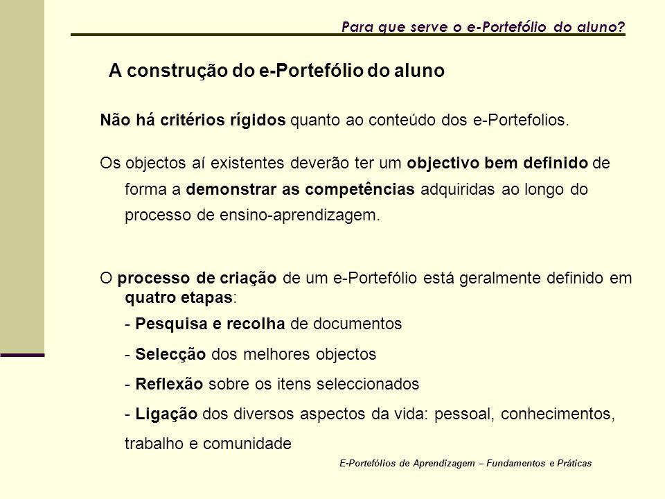 E-Portefólios de Aprendizagem – Fundamentos e Práticas Para que serve o e-Portefólio do aluno.