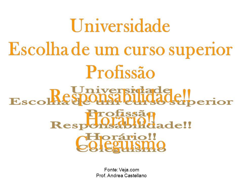 Fonte: Veja.com Prof. Andrea Castellano Fique de olho nas seguintes palavras