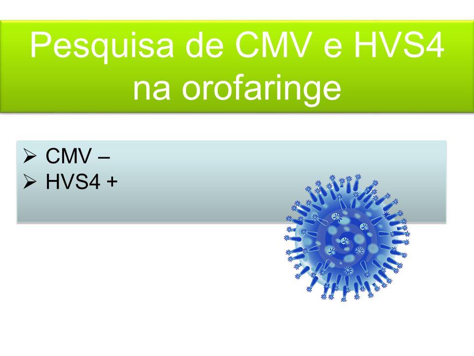 Pesquisa de CMV e HVS4 na orofaringe  CMV –  HVS4 +  CMV –  HVS4 +