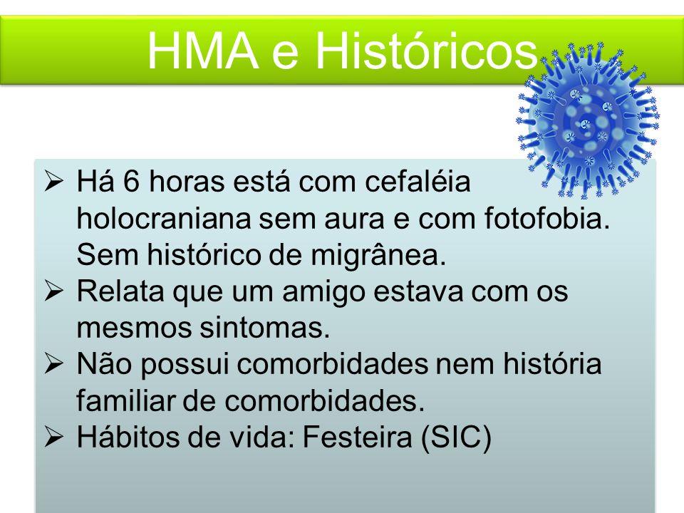 HMA e Históricos  Há 6 horas está com cefaléia holocraniana sem aura e com fotofobia.