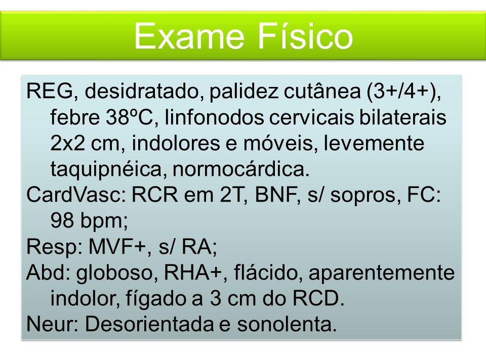 Exame Físico REG, desidratado, palidez cutânea (3+/4+), febre 38ºC, linfonodos cervicais bilaterais 2x2 cm, indolores e móveis, levemente taquipnéica, normocárdica.