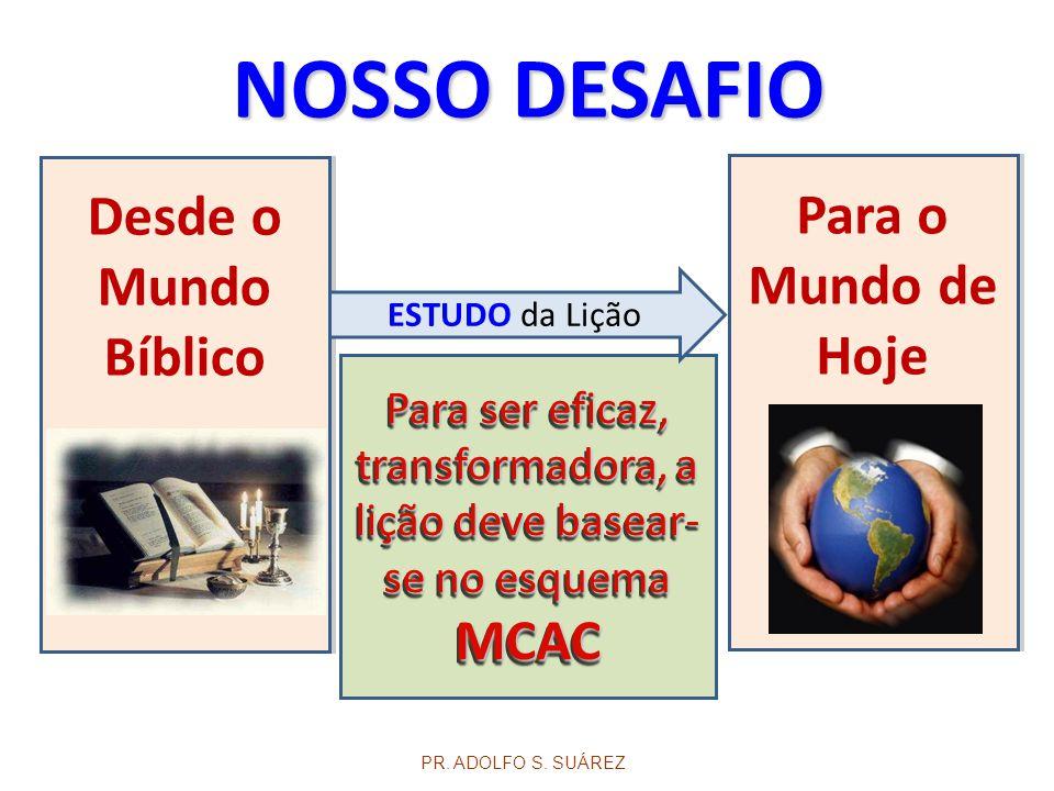 Para ser eficaz, transformadora, a lição deve basear- se no esquema MCAC MCAC Desde o Mundo Bíblico PR. ADOLFO S. SUÁREZ Para o Mundo de Hoje NOSSO DE