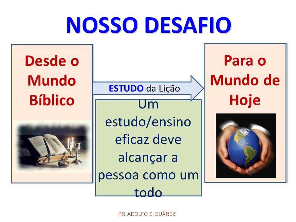 Um estudo/ensino eficaz deve alcançar a pessoa como um todo Desde o Mundo Bíblico PR. ADOLFO S. SUÁREZ Para o Mundo de Hoje NOSSO DESAFIO ESTUDO da Li