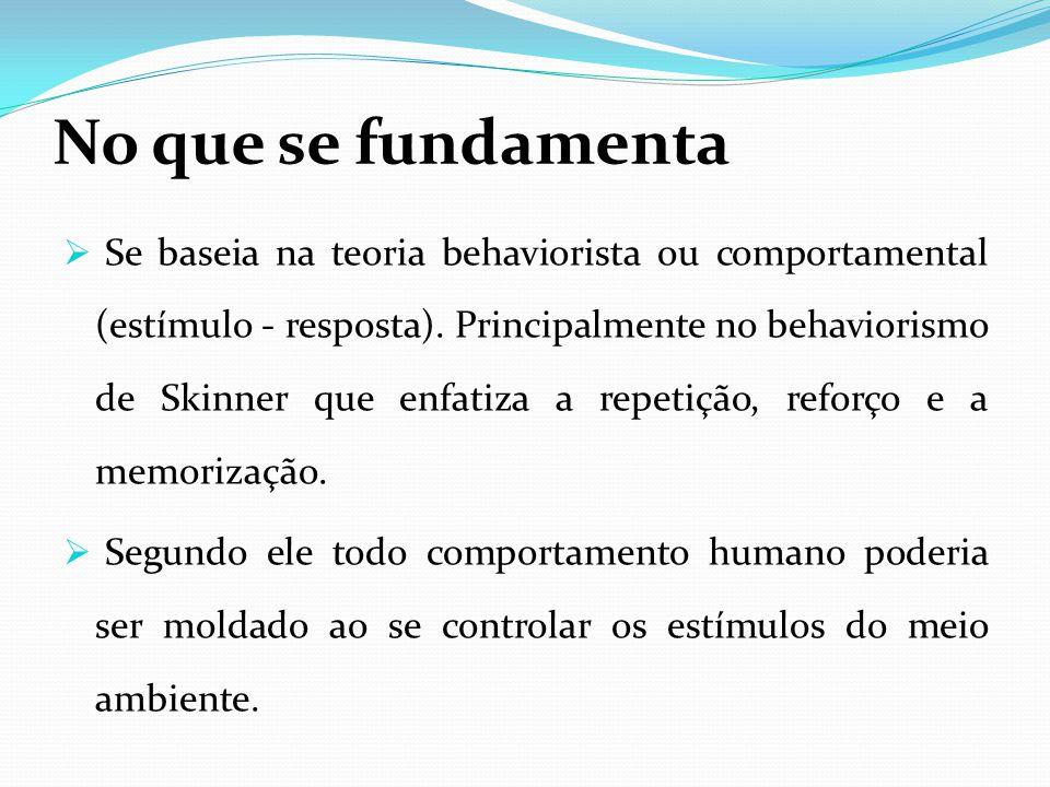 No que se fundamenta  Se baseia na teoria behaviorista ou comportamental (estímulo - resposta).