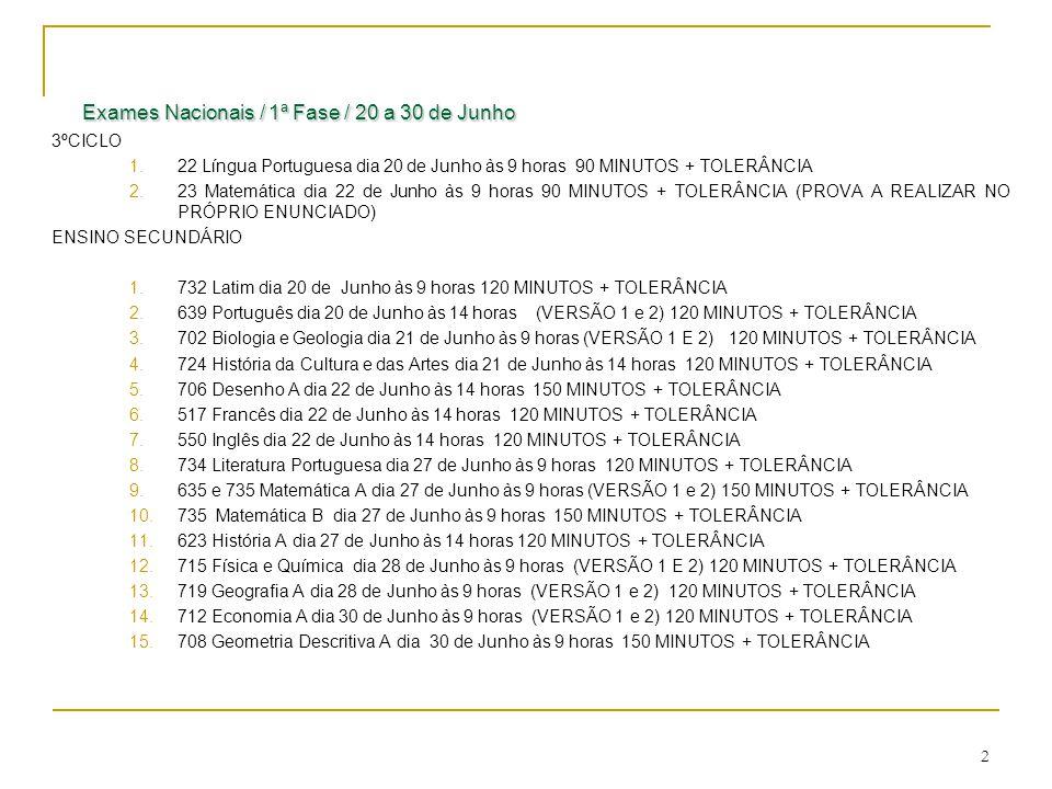 2 Exames Nacionais / 1ª Fase / 20 a 30 de Junho Exames Nacionais / 1ª Fase / 20 a 30 de Junho 3ºCICLO 1.22 Língua Portuguesa dia 20 de Junho às 9 hora