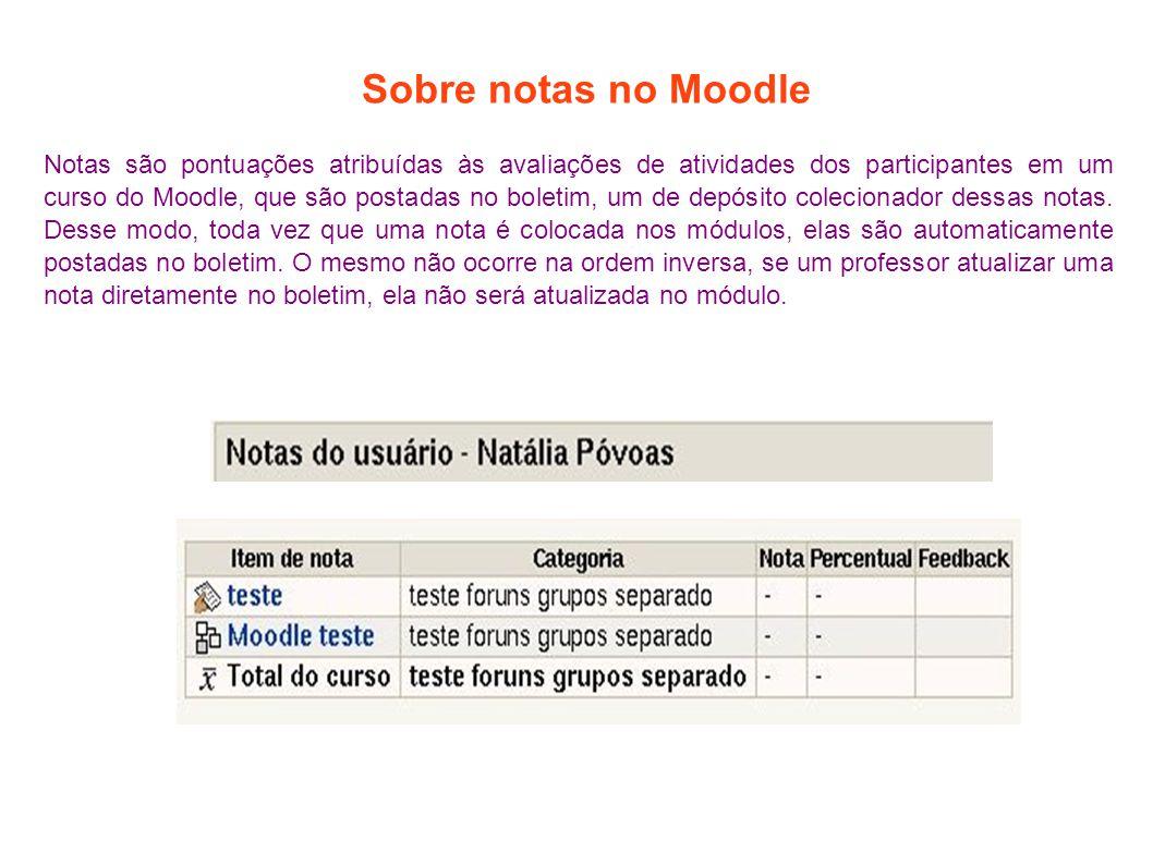 Sobre notas no Moodle Notas são pontuações atribuídas às avaliações de atividades dos participantes em um curso do Moodle, que são postadas no boletim, um de depósito colecionador dessas notas.