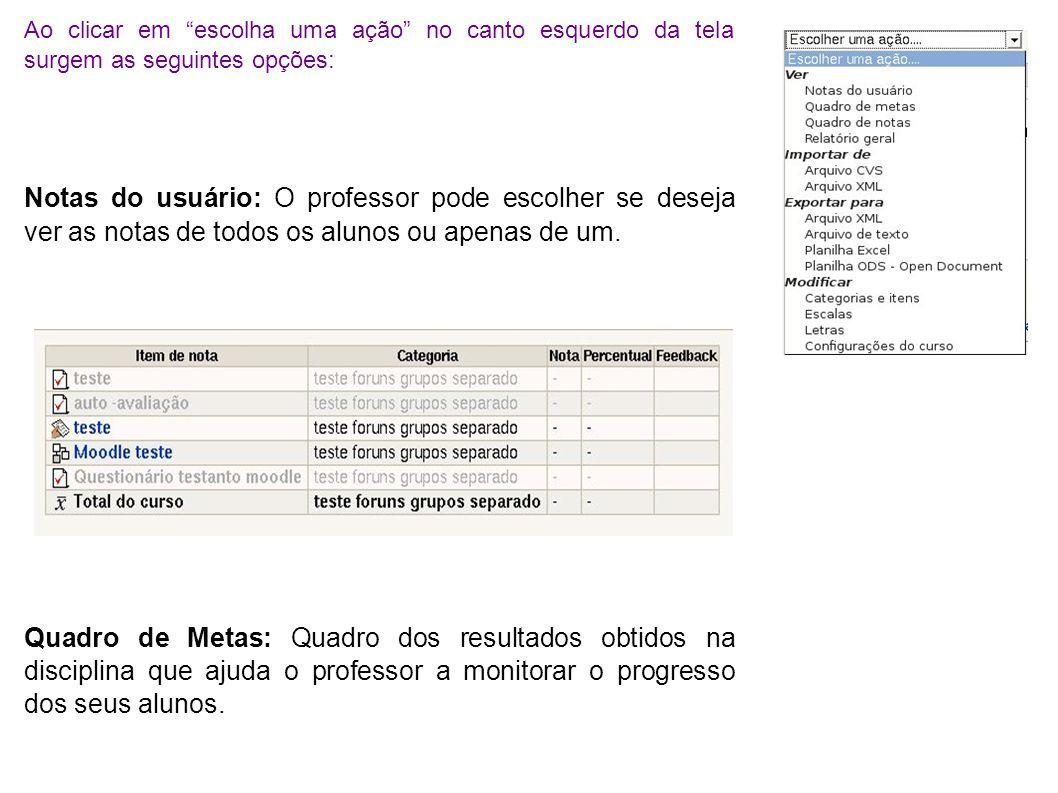 Nome da Meta - objetivo a ser obtido no curso.Média do Curso - a média obtida no curso.