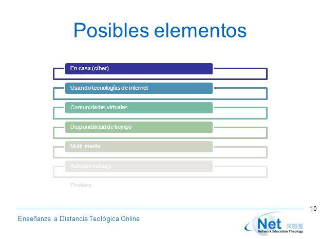 Enseñanza a Distancia Teológica Online Posibles elementos En casa (cíber)Usando tecnologías de internetComunidades virtualesDisponibilidad de tiempoMulti-mediaAutoaprendizajeEtcétera 10