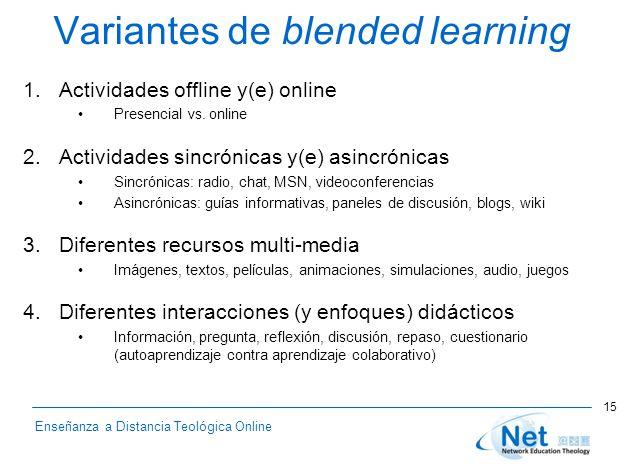 Enseñanza a Distancia Teológica Online Variantes de blended learning 1.Actividades offline y(e) online Presencial vs. online 2.Actividades sincrónicas