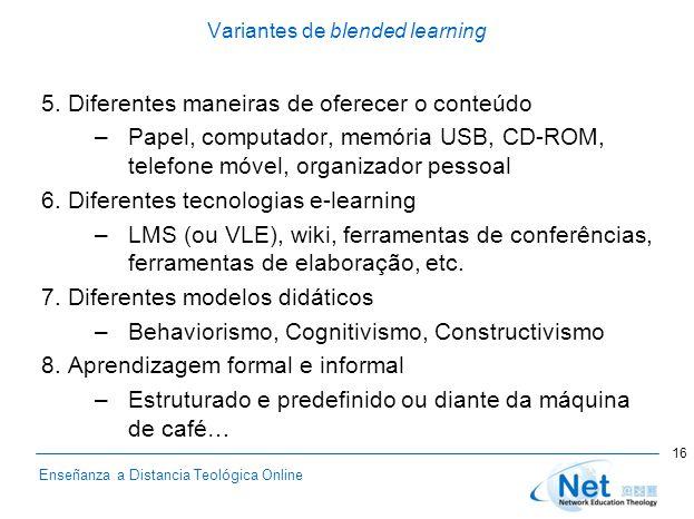 Enseñanza a Distancia Teológica Online Variantes de blended learning 5. Diferentes maneiras de oferecer o conteúdo –Papel, computador, memória USB, CD