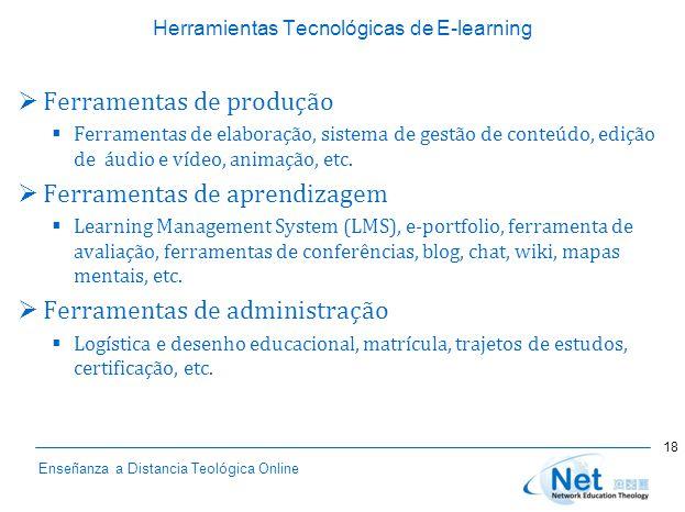 Enseñanza a Distancia Teológica Online Herramientas Tecnológicas de E-learning  Ferramentas de produção  Ferramentas de elaboração, sistema de gestão de conteúdo, edição de áudio e vídeo, animação, etc.