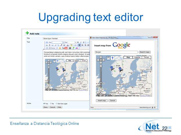 Enseñanza a Distancia Teológica Online Upgrading text editor 22