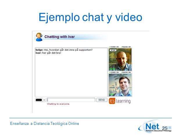 Enseñanza a Distancia Teológica Online Ejemplo chat y video 25