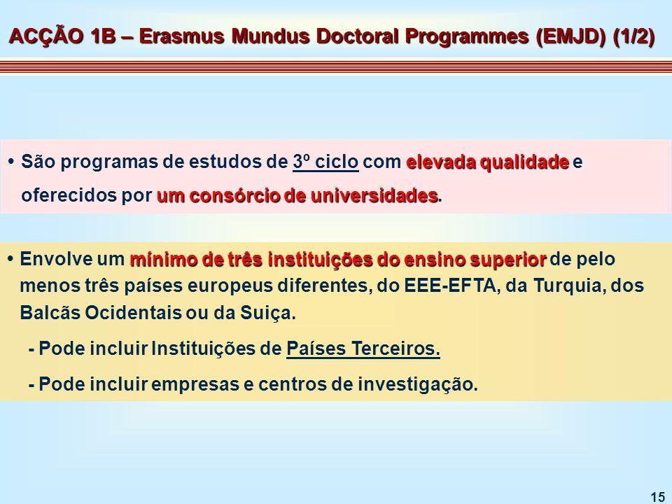 15 elevada qualidade um consórcio de universidadesSão programas de estudos de 3º ciclo com elevada qualidade e oferecidos por um consórcio de universidades.