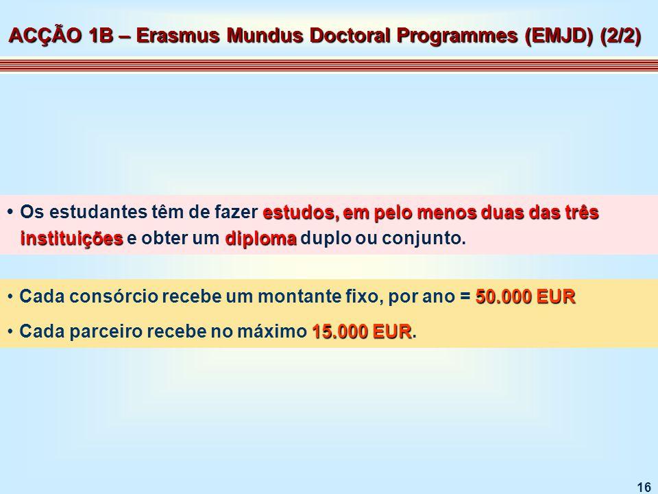 16 estudos, em pelo menos duas das três instituiçõesdiplomaOs estudantes têm de fazer estudos, em pelo menos duas das três instituições e obter um diploma duplo ou conjunto.