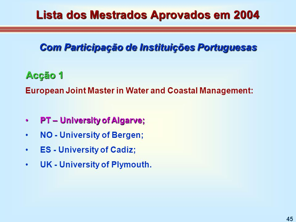 45 European Joint Master in Water and Coastal Management: PT – University of Algarve;PT – University of Algarve; NO - University of Bergen; ES - Unive