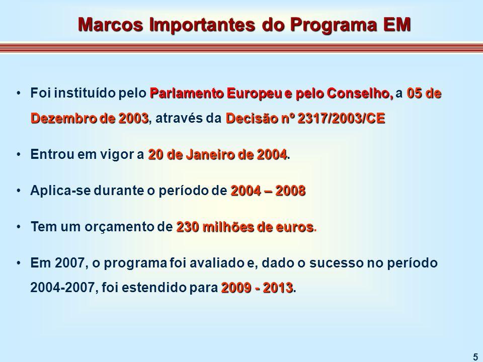 6 ERASMUS MUNDUS 2009-2013 Decisão nº 1298/2008/EC O Programa ERASMUS MUNDUS 2009-2013 foi publicado no Jornal Oficial da União Europeia, através da Decisão nº 1298/2008/EC, em 19 de Dezembro de 2008.