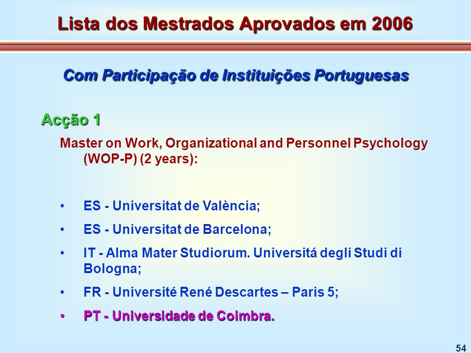 54 Master on Work, Organizational and Personnel Psychology (WOP-P) (2 years): ES - Universitat de València; ES - Universitat de Barcelona; IT - Alma Mater Studiorum.