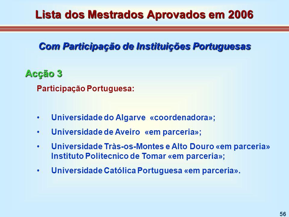 56 Participação Portuguesa: Universidade do Algarve «coordenadora»; Universidade de Aveiro «em parceria»; Universidade Tràs-os-Montes e Alto Douro «em parceria» Instituto Politecnico de Tomar «em parceria»; Universidade Católica Portuguesa «em parceria».