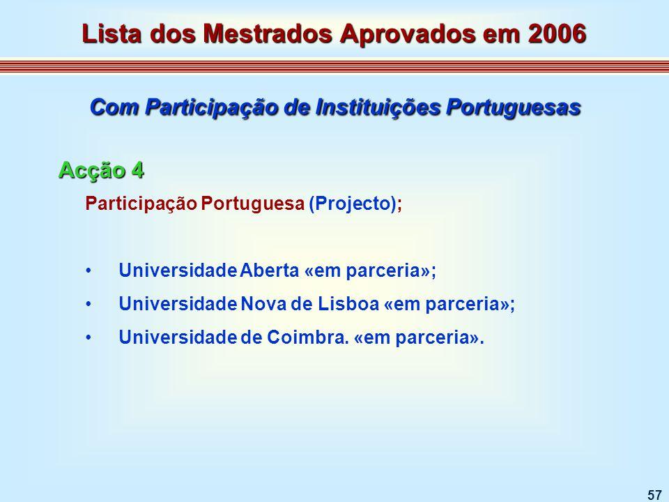 57 Participação Portuguesa (Projecto); Universidade Aberta «em parceria»; Universidade Nova de Lisboa «em parceria»; Universidade de Coimbra.