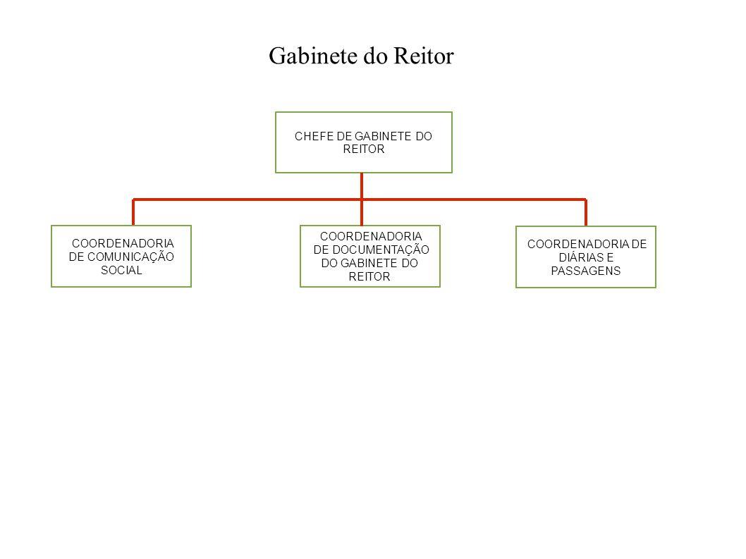 CHEFE DE GABINETE DO REITOR COORDENADORIA DE COMUNICAÇÃO SOCIAL COORDENADORIA DE DIÁRIAS E PASSAGENS COORDENADORIA DE DOCUMENTAÇÃO DO GABINETE DO REIT