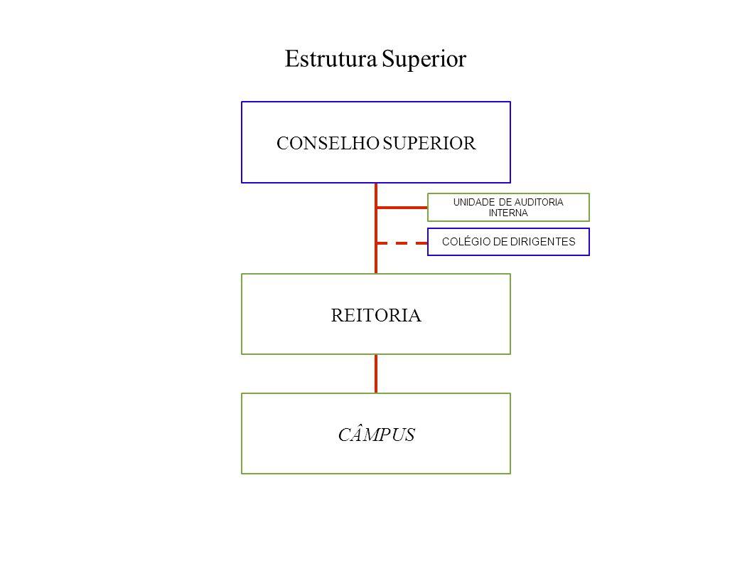 Estrutura Superior CONSELHO SUPERIOR REITORIA CÂMPUS COLÉGIO DE DIRIGENTES UNIDADE DE AUDITORIA INTERNA