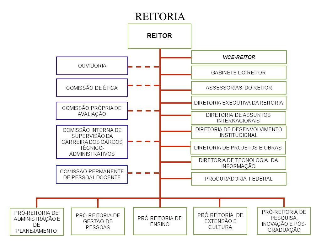 REITORIA REITOR GABINETE DO REITOR COMISSÃO DE ÉTICA COMISSÃO PRÓPRIA DE AVALIAÇÃO COMISSÃO INTERNA DE SUPERVISÃO DA CARREIRA DOS CARGOS TÉCNICO- ADMI
