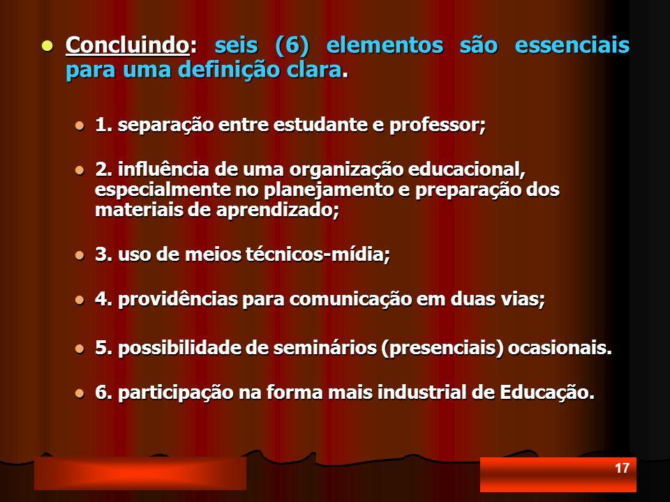 17 Concluindo: seis (6) elementos são essenciais para uma definição clara.