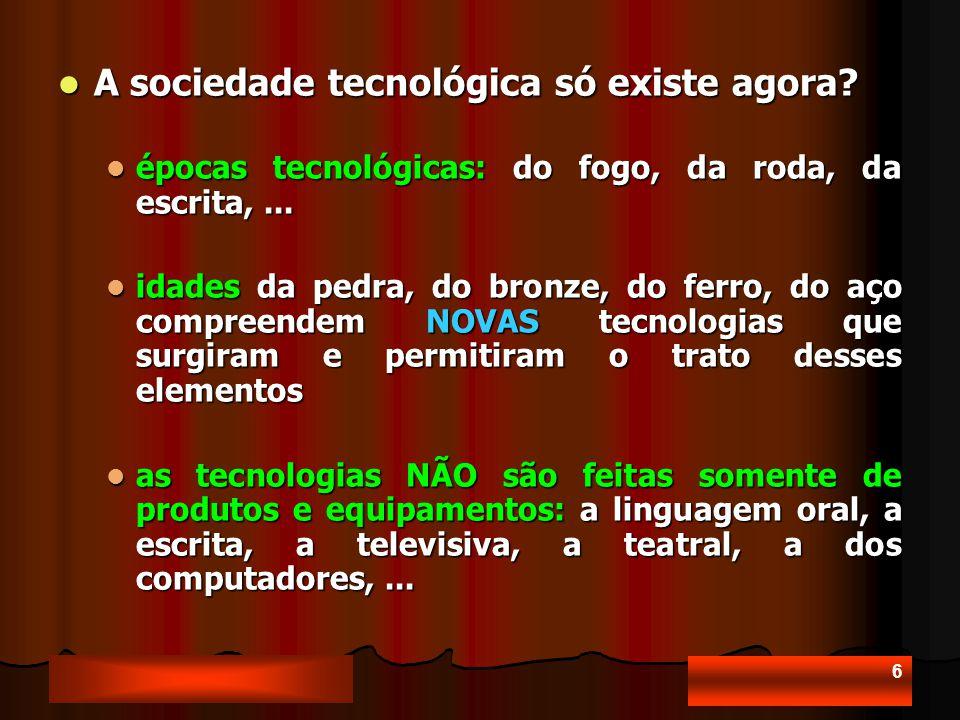 6 A sociedade tecnológica só existe agora.A sociedade tecnológica só existe agora.