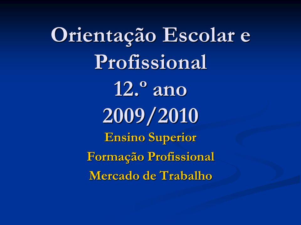 Orientação Escolar e Profissional 12.º ano 2009/2010 Ensino Superior Formação Profissional Mercado de Trabalho
