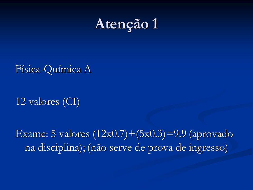 Atenção 1 Física-Química A 12 valores (CI) Exame: 5 valores (12x0.7)+(5x0.3)=9.9 (aprovado na disciplina); (não serve de prova de ingresso)