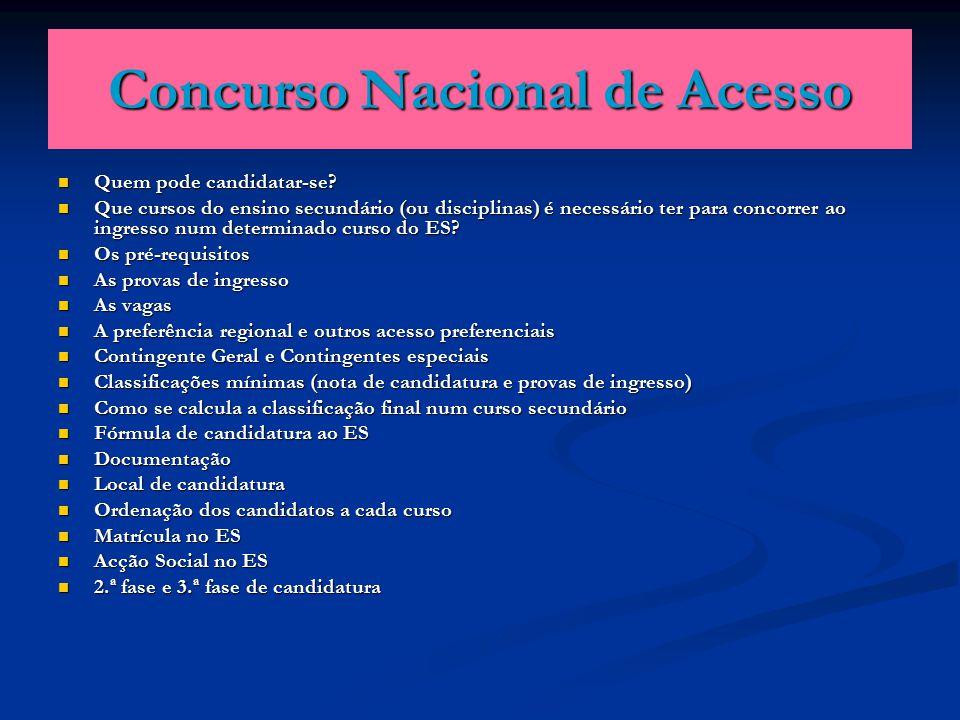 Concurso Nacional de Acesso Quem pode candidatar-se.