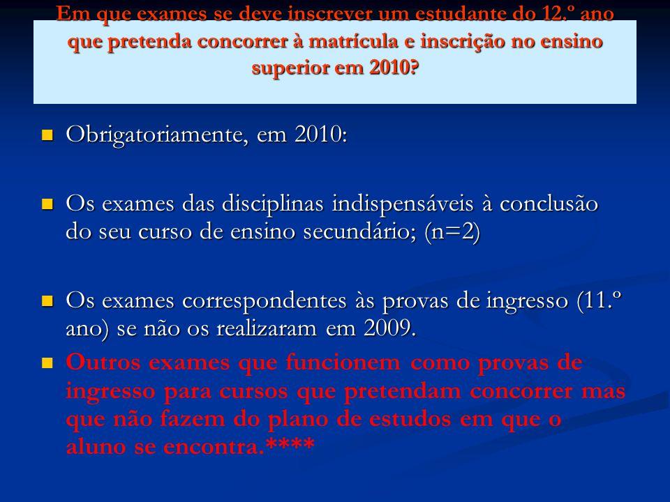 Em que exames se deve inscrever um estudante do 12.º ano que pretenda concorrer à matrícula e inscrição no ensino superior em 2010.