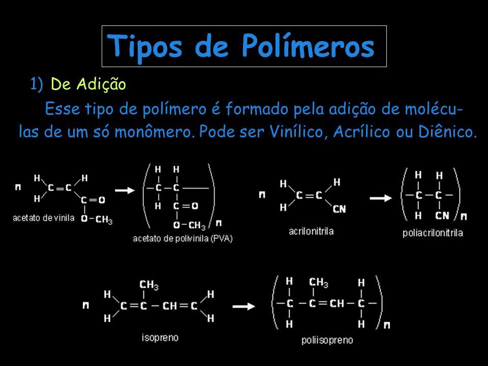 Tipos de Polímeros 1) De Adição Esse tipo de polímero é formado pela adição de molécu- las de um só monômero. Pode ser Vinílico, Acrílico ou Diênico.