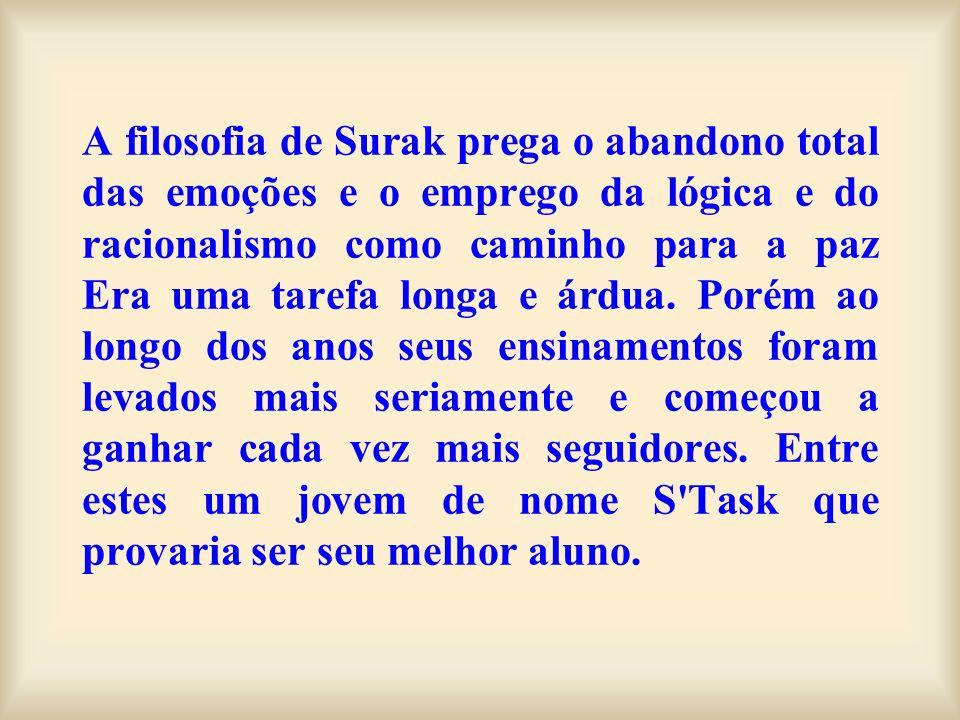 A filosofia de Surak prega o abandono total das emoções e o emprego da lógica e do racionalismo como caminho para a paz Era uma tarefa longa e árdua.