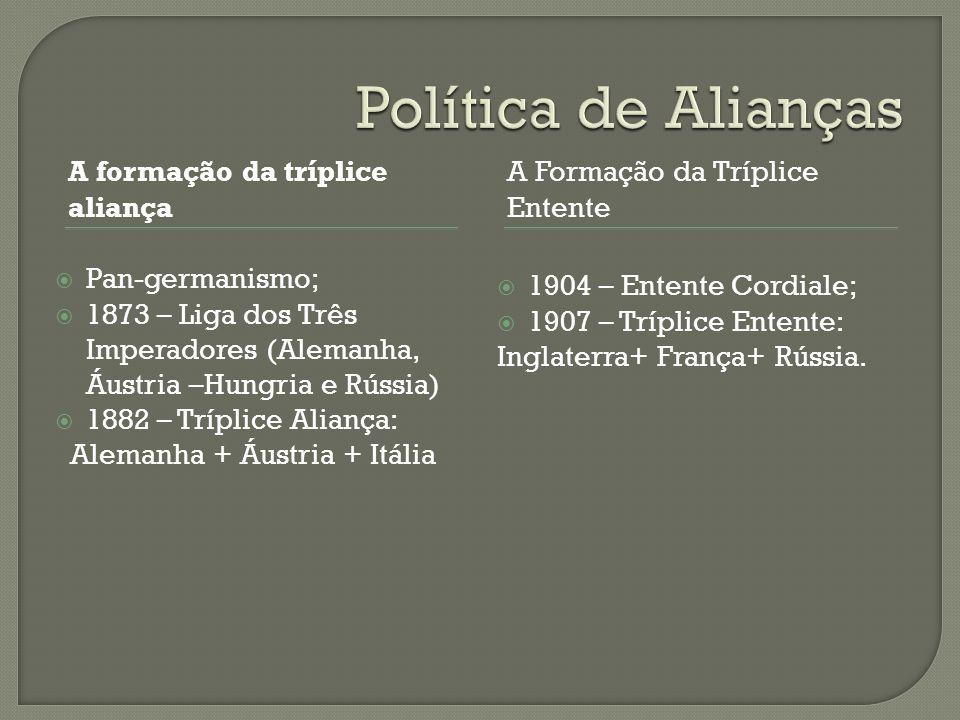 A formação da tríplice aliança A Formação da Tríplice Entente  Pan-germanismo;  1873 – Liga dos Três Imperadores (Alemanha, Áustria –Hungria e Rússi