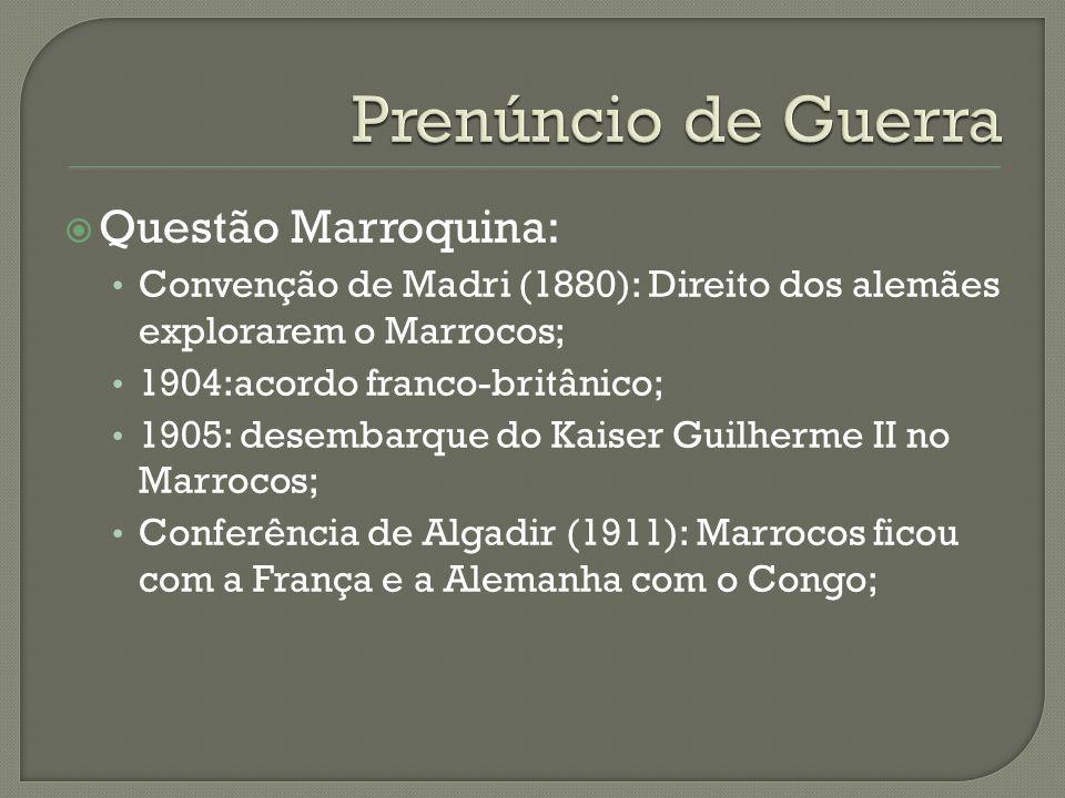  Questão Marroquina: Convenção de Madri (1880): Direito dos alemães explorarem o Marrocos; 1904:acordo franco-britânico; 1905: desembarque do Kaiser