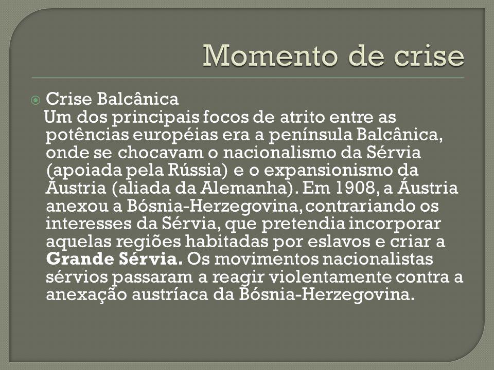  Crise Balcânica Um dos principais focos de atrito entre as potências européias era a península Balcânica, onde se chocavam o nacionalismo da Sérvia