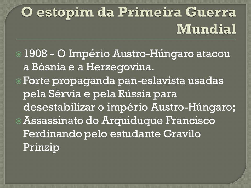  1908 - O Império Austro-Húngaro atacou a Bósnia e a Herzegovina.  Forte propaganda pan-eslavista usadas pela Sérvia e pela Rússia para desestabiliz