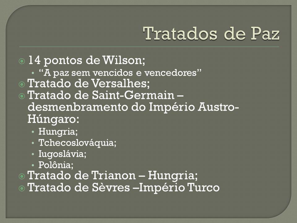""" 14 pontos de Wilson; """"A paz sem vencidos e vencedores""""  Tratado de Versalhes;  Tratado de Saint-Germain – desmenbramento do Império Austro- Húngar"""